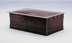 Roycroft hammered copper box. Signed with early mark. Excellent new patina. 10.5″w x 7″d x 4″h