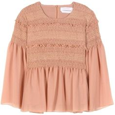 See By Chloé Smocked Cotton Blouse (€470) ❤ liked on Polyvore featuring tops, blouses, shirts, pink, cotton shirts, cotton blouses, shirt blouse, red shirt and shirt tops