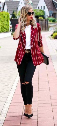 summer outfits  Red Striped Blazer + White Top + Black Ripped Skinny Jeans