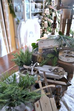 Sleds and Nutcrackers for Christmas Centerpiece