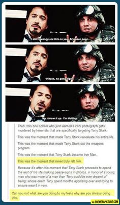 Why Tony Stark puts up peace in photos. Boom! Right in the feels! more funny pics on facebook: https://www.facebook.com/yourfunnypics101