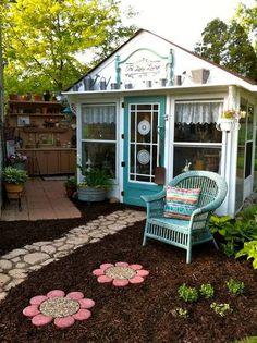 garden shed plans 5755863289 Outdoor Rooms, Outdoor Gardens, Outdoor Decor, Outdoor Lounge, Outdoor Office, Backyard Office, Flea Market Gardening, Gardening Blogs, Room Of One's Own