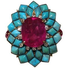 Ruby and Turquoise Cocktail Ring
