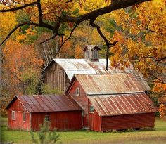Old farm buildings Beautiful old farm, barn, country living, country life Farm Barn, Old Farm, Barn Pictures, Flora Und Fauna, Country Barns, Country Living, Country Roads, Country Scenes, Building A Shed