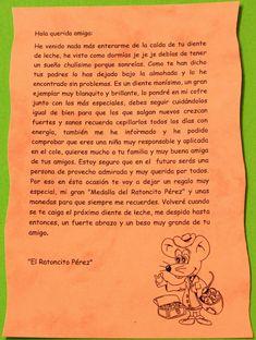 carta del ratoncito pérez Tooth Fairy, Free Printables, School, Kids, Montessori, Scrapbooking, Google, Frases, Oral Hygiene