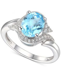 ) in White Gold Reach beyond ordinary to a special place of pure enchantment with this stunning oval-cut blue topaz and diamond ring.Set in white gold Gemstone Jewelry, Jewelry Rings, Jewelry Watches, Fine Jewelry, Blue Topaz Ring, White Gold, Pure Products, Gemstones, Diamond