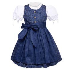 Ein wunderschönes Kinderdirndl Betty in Dunkelblau von Berwin und Wolff. Das Kinderdirndl ist in einem floralem Muster und die Schürze ist in der Farbe Blau mit Punkten. Kinderdirndl mit Schürze und Dirndlbluse.