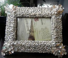 Seashell picture frame - Silvery Iridescence