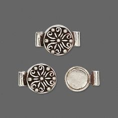 Clasp, magnetic, sterling silver, 11mm round. Sold individually. $17.68