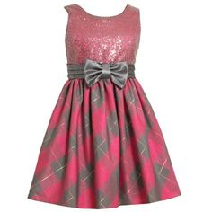Bonnie Jean Plaid Sequined Dress Girls 4 6x
