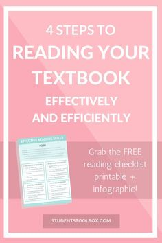 Get the FREE CHECKLIST PRINTABLE on textbook reading strategies and tips for college, high school, middle school students! - I talked about how to utilize SQ3R and make reading notes here || 4 Steps to Reading Your Textbook Effectively and Efficiently from Students Toolbox