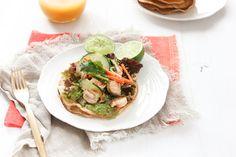 Tostadas de camarón estilo asiático