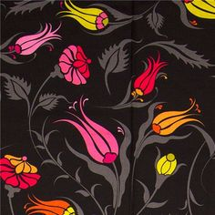 """black Michael Miller fabric Turkish Garden flowers black designer fabric from the USA with gracile flowers - """" Istanbul Tulip """" Big Flowers, Fabric Flowers, Textures Patterns, Fabric Patterns, Paper Background Design, Moroccan Garden, Turkish Style, Gypsy Rose, India Art"""