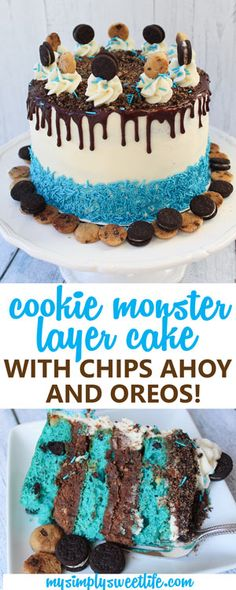 Blue velvet cake layers filled with cookies and cream chocolate chips, layers of chocolate frosting mixed with crushed Chips Ahoy and Oreos, covered in a vanilla frosting, blue sprinkles, MORE cookies and a layer of chocolate ganache. Yummy Treats, Delicious Desserts, Sweet Treats, Yummy Food, Best Chocolate Cake, Chocolate Frosting, Chocolate Chips, Sweet Recipes, Cake Recipes