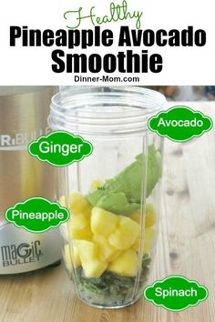 This Healthy Pineapple Avocado smoothie with spinach and ginger will kick-start your day! This Healthy Pineapple Avocado smoothie with spinach and ginger will kick-start your day! Avocado Smoothie, Green Detox Smoothie, Ginger Smoothie, Raspberry Smoothie, Smoothie Cleanse, Avocado Drink, Avocado Food, Avocado Cake, Avocado Brownies