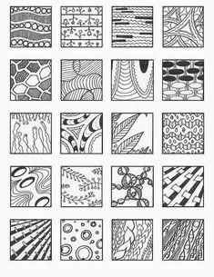 Zentangle, rustgevend tekenen: Zentangle, voorbeelden patronen 4