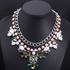 WHOLESALE FASHION JEWELRY ACCESSORIES 2014 NEW DESIGN LADY GORGEOUS MULTI BLING MIXED CRYSTAL BIB STATEMENT NECKLACE