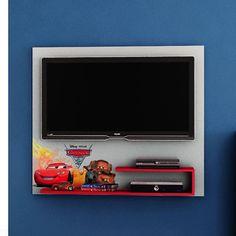 Painel TV Carros Disney para Quarto Infantil - Até 32 polegadas - Pura Magia - CasaTema Backdrop Tv, Speaker Wall Mounts, Disney, Flat Screen, House Design, Room, Tv In Bedroom, Wooden Truck, Kids Rooms
