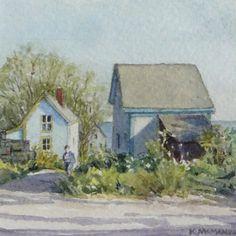 """""""Blue View - Stonington"""" by Karen McManus. 2 3/4"""" x 2 3/4"""" Watercolor.  *SOLD*"""
