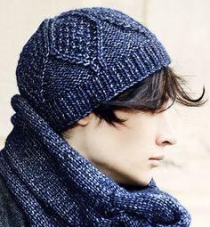 Modèle bonnet point losange homme