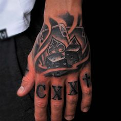 Small illustrative style hand tattoo of playing cards with dice Man With Tattoos, Hand Tattoos For Guys, Design Tattoo, Tattoo Designs, Play Slots Online, Dice Tattoo, Poker Hands, Theme Tattoo, Sleeve Tattoos