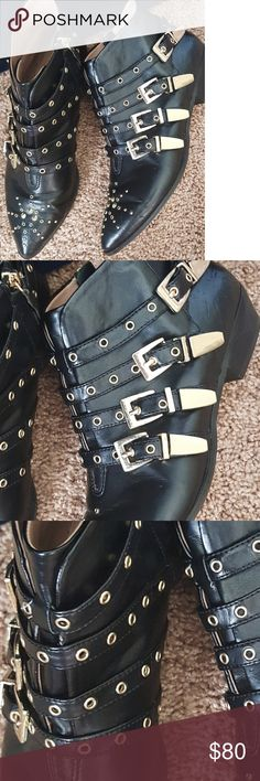 Zara Ankle Boots Booties Studded Trafaluc These are STUNNING! Works for most everything in the closet. Absolutely love these ankle boots booties. Black with gold studs. Trafaluc Shoes Ankle Boots & Booties