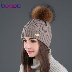 BOAPT Double-deck Knitted Wool Real Natural Raccoon Fur Pompon Hat Female Winter Braid Cap Headgear For Women Skullies Beanies