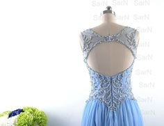 Blue Long Prom Dresses Custom Blue V Neck Crystal by SarNDresses