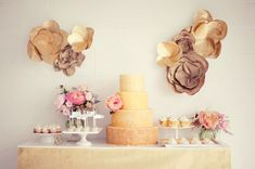 This cake table is fabulous. The Oversized paper flowers, pink boquets, and gold wedding cake dessert table. Wedding Food Bars, Wedding Desserts, Wedding Decorations, Wedding Cakes, Flower Decorations, Mod Wedding, Wedding Blog, Wedding Ideas, Wedding Trends