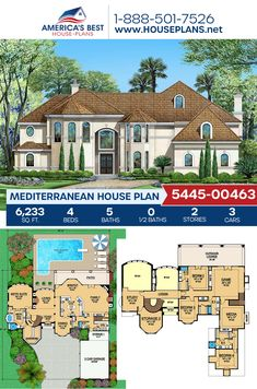 A stylish Mediterranean home design, Plan 5445-00463 offers 6,233 sq. ft., 4 bedrooms, 5 bathrooms, a breakfast nook, a kitchen island, an open floor plan, a formal living room, a media room, and a study. #architecture #houseplans #housedesign #homedesign #homedesigns #architecturalplans #newconstruction #floorplans #dreamhome #dreamhouseplans #abhouseplans #besthouseplans #newhome #newhouse #homesweethome #buildingahome #buildahome #residentialplans #residentialhome Best House Plans, Dream House Plans, Architectural Design House Plans, Floor Plan Drawing, Mediterranean House Plans, Stucco Exterior, Study Architecture, Construction Cost, Build Your Dream Home