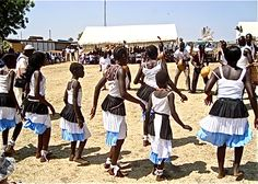 Arts: This is a dance circle in Sudan. Music and dancing are a main part of Sudan's arts. The Islam religion influences most of their song and dance. Other arts in Sudan include, pottery, basketry, beaded jewerly, needlework, and leather work.
