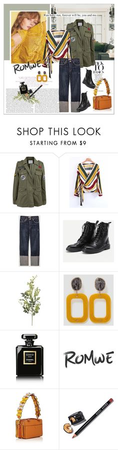 """""""ROMWE - Wrap Top"""" by stylemeup-649 ❤ liked on Polyvore featuring Velvet by Graham & Spencer, Elle, Pier 1 Imports, Chanel, Anya Hindmarch and Bobbi Brown Cosmetics"""