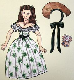 Gone with the Wind Rhett Butler and Scarlett O'Hara Articulated Paper Dolls -  Clark Gable & Vivien Leigh.