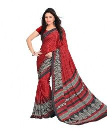 Maroon Color Beautiful Traditional Look Printed Saree Of Crepe Fabric
