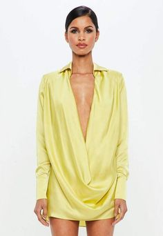 9d588827d18d8c Missguided Lime Satin Cowl Mini Dress Sommer-outfits