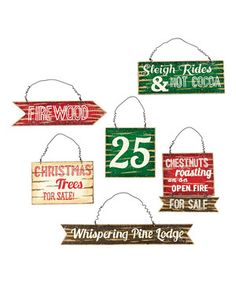 Lodge Signage Ornament Set by Winter's Lodge #zulily #zulilyfinds
