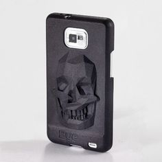 3D printed phone case with skull on it.