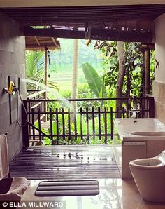 Paradise in the form of a bathroom (pictured), complete with shower, Jacuzzi and…