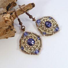 Purple & Silver Diamond Bead Earrings  by BeauBellaJewellery