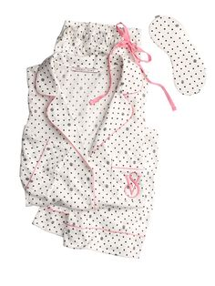 The Sleepover Knit Pajama - Victoria's Secret  size: small short length  color: white/black polk dots or light pink with black stars