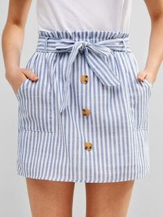 ZAFUL Mini falda con botones abotonado The Effective Pictures We Offer You About Skirt fashion A qua Cute Skirts, Cute Dresses, Casual Dresses, Casual Outfits, Cute Outfits, Fashion Outfits, Summer Dresses, Types Of Skirts, Stripe Skirt