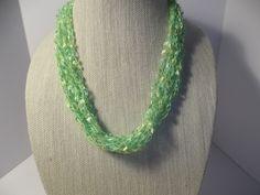 Lime Cool Lime Necklace Crochet Ladder Lace Necklace Trellis Ribbon Lace Fiber Yarn