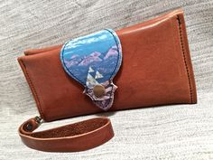 Leather Wallet Long, Phone Case with Wrist Strap & Zipper Pocket Chestnut / Triangle Mountain Photo - SALE - see Listing for Coupon Codes...