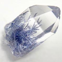 Dumortierite in Quartz - RARE - Splendid Glassy Quartz Crystal with Blue Dumortierite Inclusions - Specimen is from Bahia State, Brazil Minerals And Gemstones, Rocks And Minerals, Crystals And Gemstones, Stones And Crystals, Natural Gemstones, Mineral Stone, Rocks And Gems, Quartz Crystal, Krystal