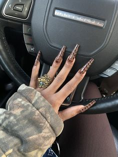 Brown Acrylic Nails, Bling Acrylic Nails, Best Acrylic Nails, Edgy Nails, Stylish Nails, Swag Nails, Grunge Nails, Nail Design Stiletto, Nail Design Glitter