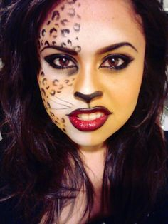Wild Cat Makeup! INSTAGRAM: Jossy102 Cheetah Makeup, Fox Makeup, Scary Makeup, Cat Halloween Makeup, Halloween Costumes, Maquillage Halloween, Costume Makeup, Makeup Forever, Holidays Halloween