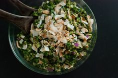 """Gluten-free Vegan Quinoa cooked in coconut milk, tossed with kale and cilantro-cashew """"tropical"""" pesto—a warm salad Ingredients 1 cup quinoa, 1 cup light coconut milk  1 small bunch of kale  1/2 small to medium red onion, chopped 1/3 cup coconut flakes  Tropical Cilantro-Cashew Pesto"""