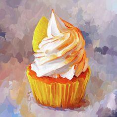 Cupcake Painting Canvas Prints - Lemon Cupcake Canvas Print by Jai Johnson Cupcake Painting, Cupcake Drawing, Food Painting, Painting Canvas, Cupcake Kunst, Cupcake Art, Art Cupcakes, Food Illustrations, Illustration Art