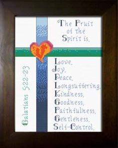 Fruit of the spirit cross stitch - Galatians Christian. Love joy peace patience kindness goodness faithfulness gentleness self control. Cross Stitch Fruit, Cross Stitch Bookmarks, Cross Stitching, Cross Stitch Embroidery, Embroidery Patterns, Cross Stitch Designs, Cross Stitch Patterns, Beaded Angels, Religious Cross