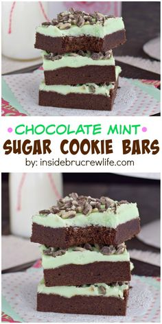 Chocolate Mint Sugar Cookie Chocolate Mint Sugar Cookie Bars These chocolate cookie bars are topped with mint frosting and Andes Mint chips. So delicious and so easy! Chocolate Cookie Bars, Sugar Cookie Bars, Mint Chocolate, Chocolate Chips, Melted Chocolate, Chocolate Icing, Cake Bars, Dessert Bars, Brownie Recipes